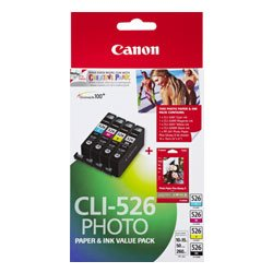 Canon CLI-526 4 Pack Bundle (Genuine)