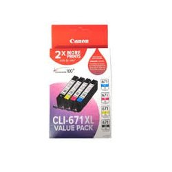 Canon CLI-671XL 4 Pack Value Pack (Genuine)