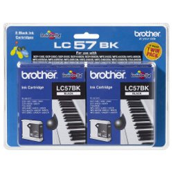 Brother LC57BK 2 Pack Bundle (Genuine)