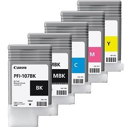 Canon PFI-107 5 Pack Bundle (Genuine)