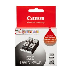 Canon PGI-520BK 2 Pack Bundle (Genuine)