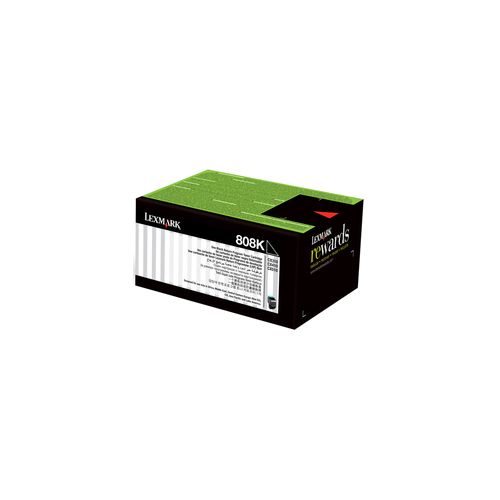 Lexmark 808 Black Prebate (80C80K0) (Genuine) title=
