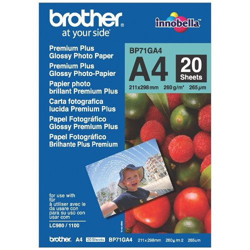 Brother BP71GA4 A4 Premium Plus Glossy Photo Paper title=