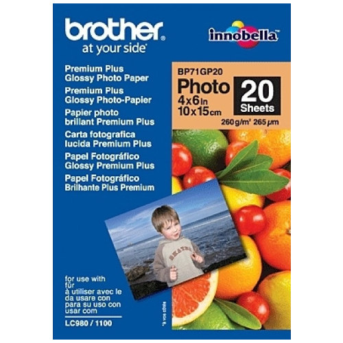 Brother BP71GP20 4x6 inch Premium Plus Glossy Photo Paper title=