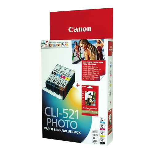 Canon CLI-521 4 Pack Bundle (Genuine) title=