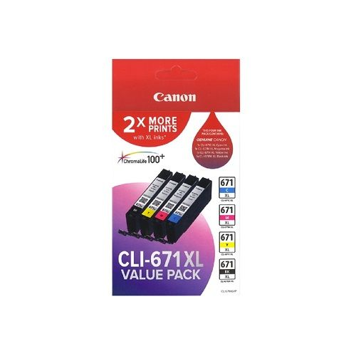 Canon CLI-671XL 4 Pack Value Pack (Genuine) title=
