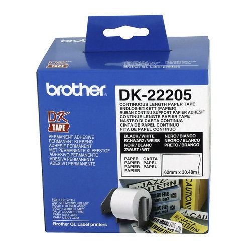 Brother DK-22205 Black on White (Genuine) title=