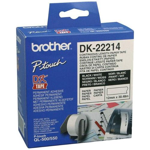 Brother DK-22214 Black on White (Genuine) title=