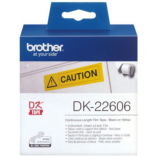 Brother DK-22606 Black on Yellow (Genuine) title=