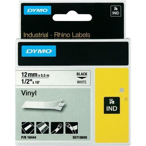 DYMO 18444 Black on White (Genuine) title=