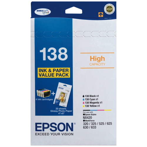 Epson 138 4 Pack Bundle (Genuine) title=