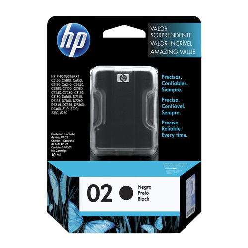 HP 02 Black (C8721WA) (Genuine) title=