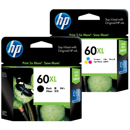 HP 60XL 2 Pack Bundle (CC641WA/CC644WA) (Genuine) title=