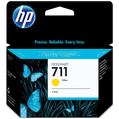 HP 711 3 Pack Yellow Value Pack (Genuine) title=