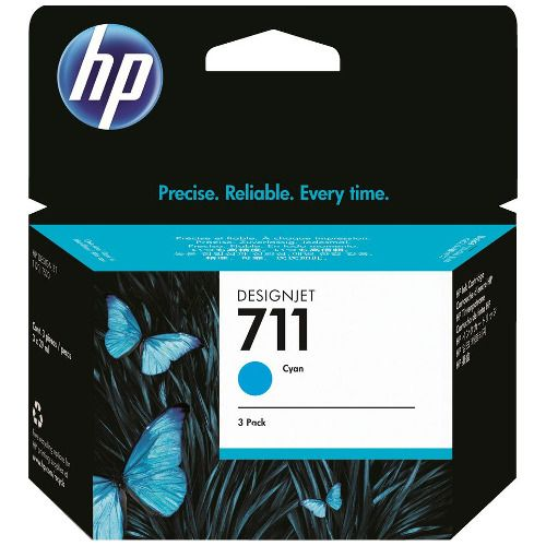 HP 711 3 Pack Cyan Value Pack (Genuine) title=