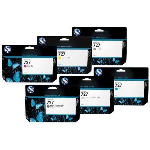 HP 727 6 Pack Bundle (C1Q12A/B3P19A-B3P24A) (Genuine) title=