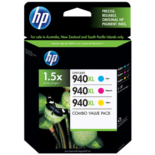 HP 940XL (C4907AA-C4909AA) 3 Pack Bundle (Genuine) title=