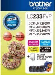 Brother 4-Pack LC233PVP Value Pack Ink Cartridge Genuine