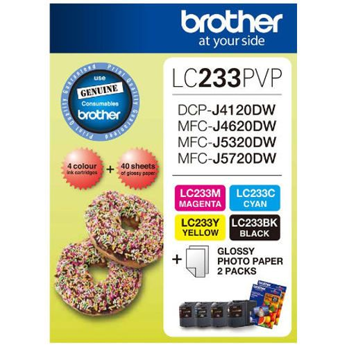 Brother LC233PVP 4 Pack Bundle (Genuine) title=