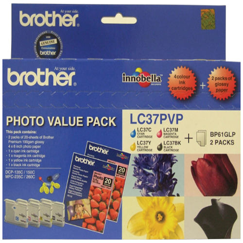 Brother LC37PVP 4 Pack Bundle (Genuine) title=