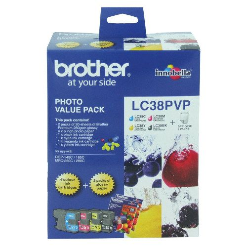 Brother LC38PVP 4 Pack Bundle (Genuine) title=