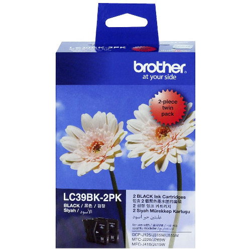 Brother LC39BK 2 Pack Bundle (Genuine) title=
