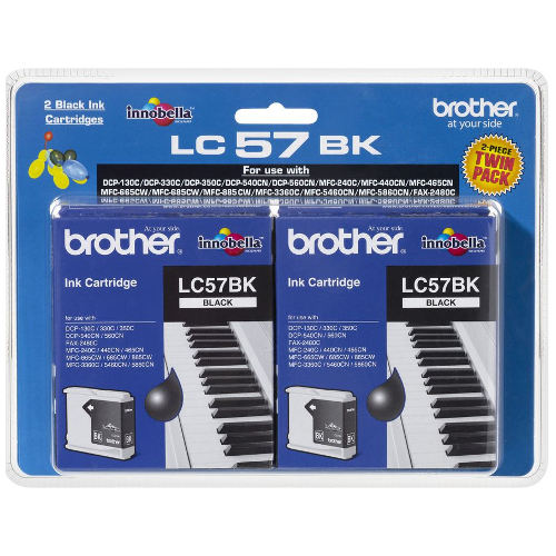 Brother LC57BK 2 Pack Bundle (Genuine) title=