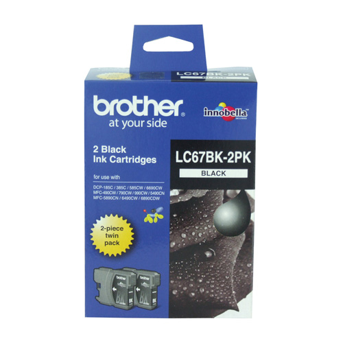 Brother LC67BK 2 Pack Bundle (Genuine) title=