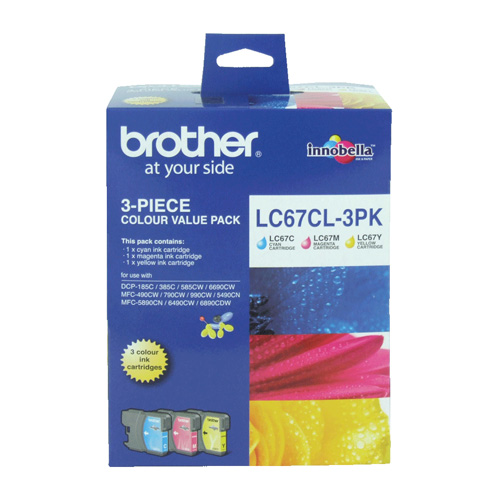 Brother LC67CL 3 Pack Bundle (Genuine) title=