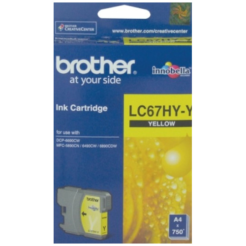 DISCONTINUED - Brother LC67HY-Y Yellow High Yield (Genuine) title=