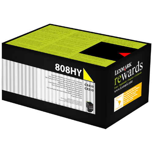 Lexmark 808H Yellow High Yield Prebate (80C8HY0) (Genuine) title=