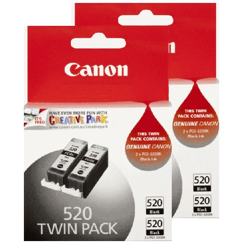 Canon PGI-520BK 4 Pack Bundle (Genuine) title=
