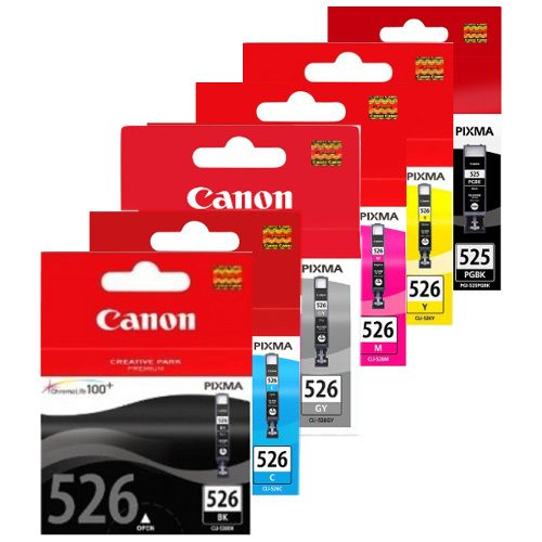Canon PGI-525BK/CLI-526 6 Pack Bundle (Genuine) title=