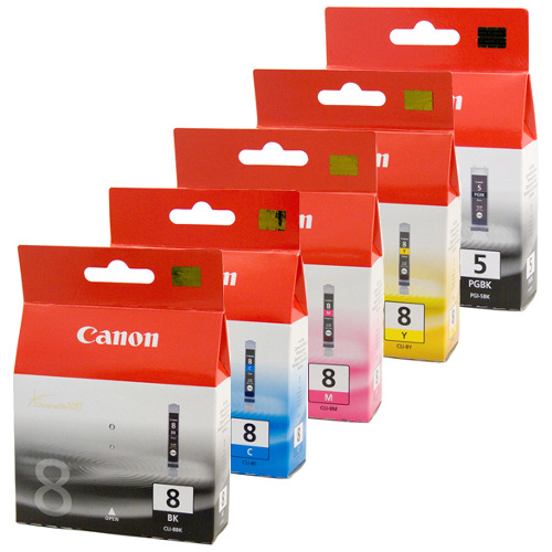 Canon PGI-5/CLI-8 5 Pack Bundle (Genuine) title=