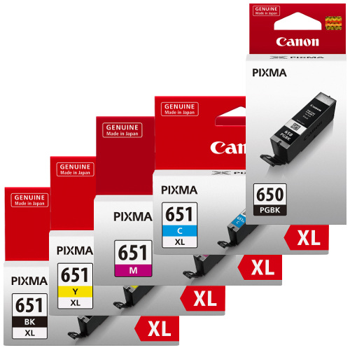 Canon PGI-650XL/CLI-651XL 5 Pack Bundle (Genuine) title=