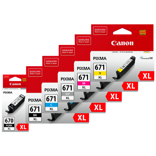Canon PGI-670XL/CLI-671XL 6 Pack Bundle (Genuine) title=