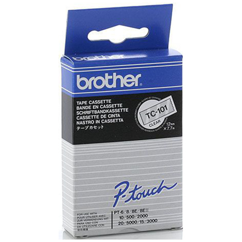 Brother TC-101 Black on Clear (Genuine) title=