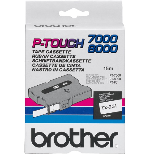 Brother TX-231 Black on White (Genuine)