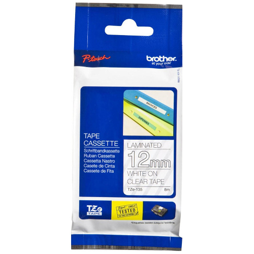 Brother TZe-135 White on Clear Tape Genuine