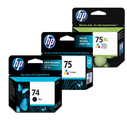 HP 74, 74XL, 75, 75XL Ink Cartridges