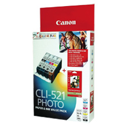 Canon CLI-521 4 Pack Bundle (Genuine)