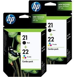 HP 4-Pack 21/22 Bundle Ink Cartridges (C9351AA-C9352AA) Genuine
