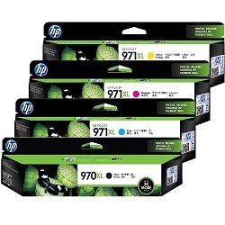 HP 970XL/971XL 4 Pack Bundle (CN625AA-8AA) (Genuine)