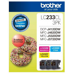 Brother LC233CL 3 Pack Bundle (Genuine)