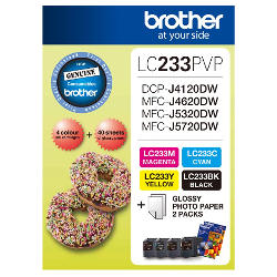 Brother LC233PVP 4 Pack Bundle (Genuine)