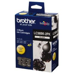 Brother LC38BK 2 Pack Bundle (Genuine)