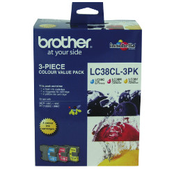 Brother LC38CL 3 Pack Bundle (Genuine)