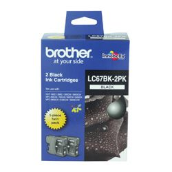 Brother LC67BK 2 Pack Bundle (Genuine)