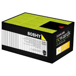 Lexmark 808H Yellow High Yield Prebate (80C8HY0) (Genuine)