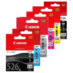 Canon PGI-525BK/CLI-526 6 Pack Bundle (Genuine)
